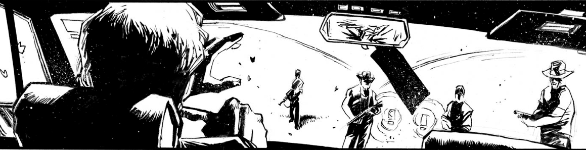 "A panel from ""All Things Through Me"". Art by Mike S Henderson."